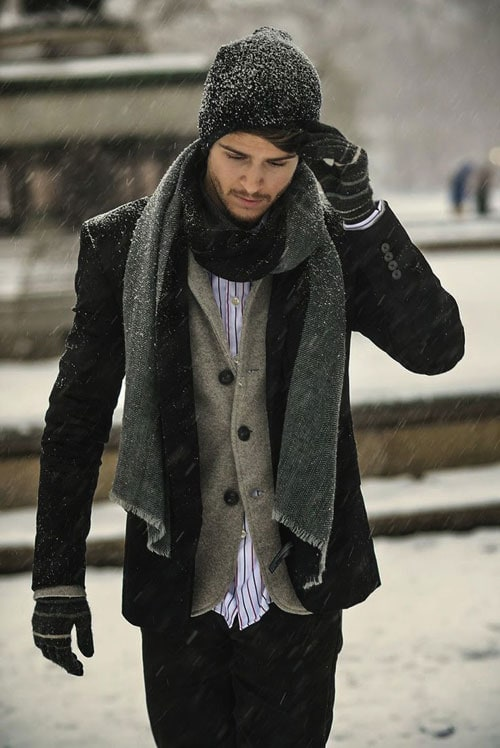men's winter fashion scarf and gloves