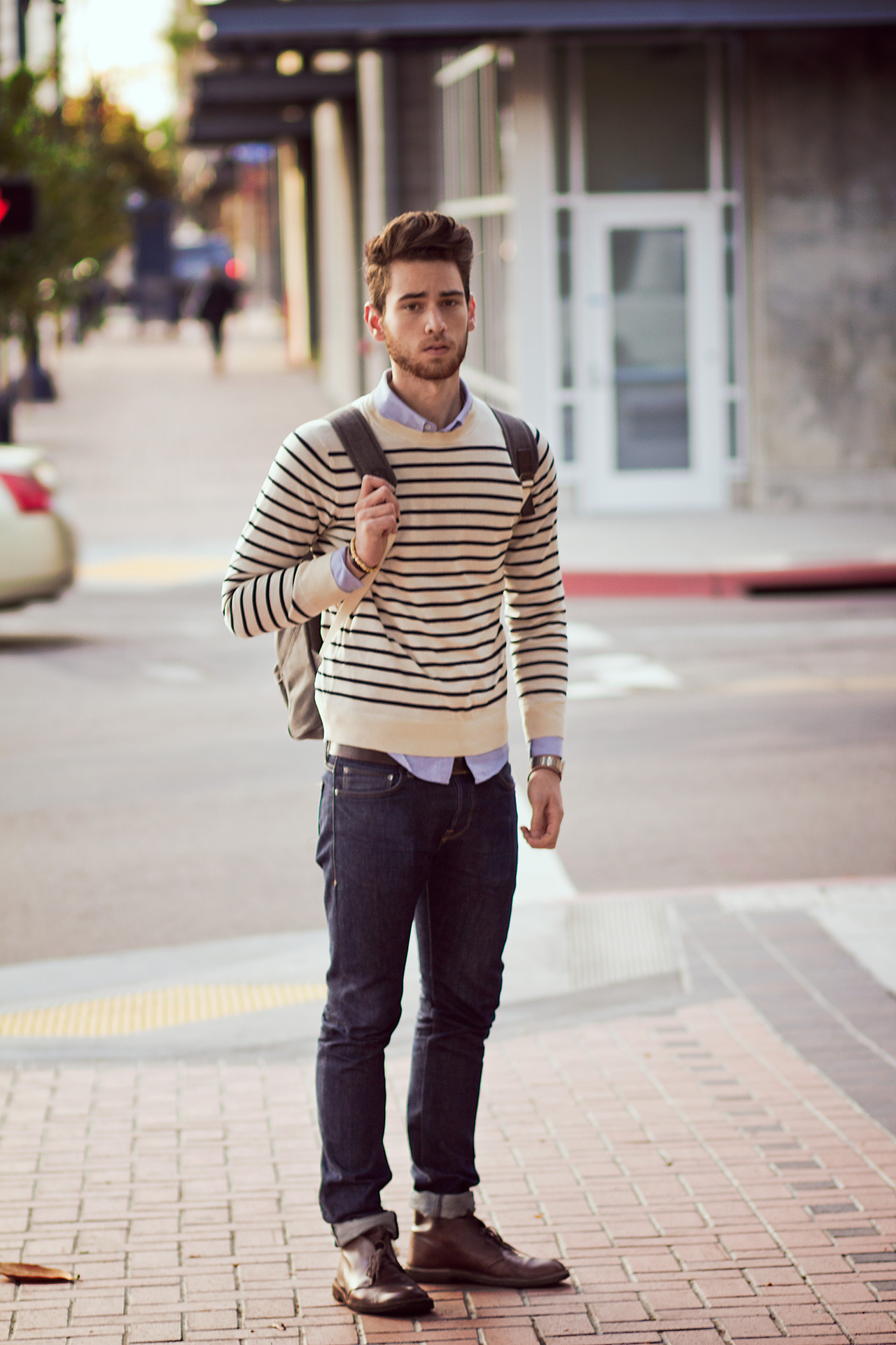 men's spring fashion breton shirt