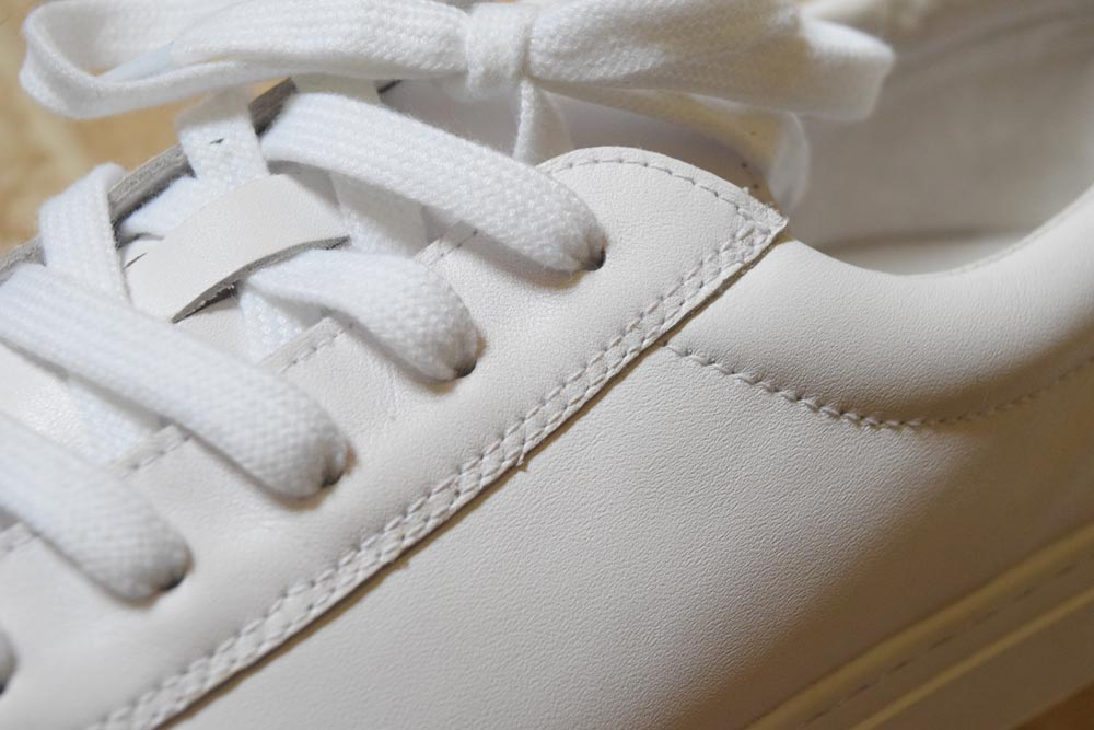 kent wang handgrade sneaker leather stitching closeup