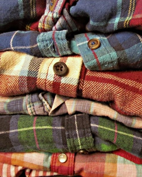 stack of flannels for fall