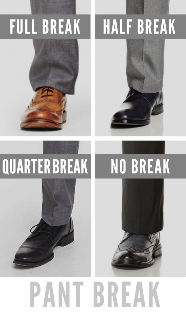 men's business casual pant breaks