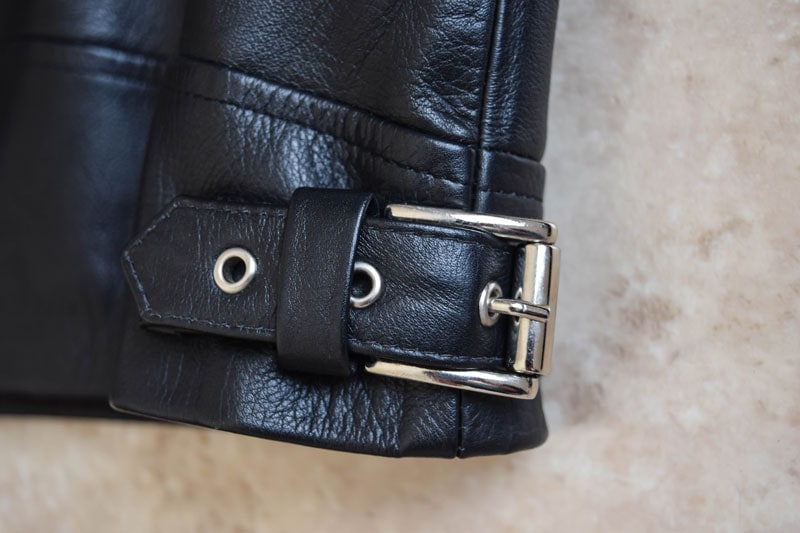 buckle closeup on the Beckett Simonon Atlas Jacket
