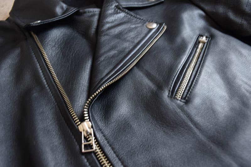 leather closeup on the Beckett Simonon Atlas Jacket