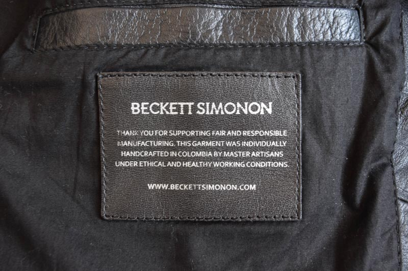 inside tag of the Beckett Simonon Atlas Jacket
