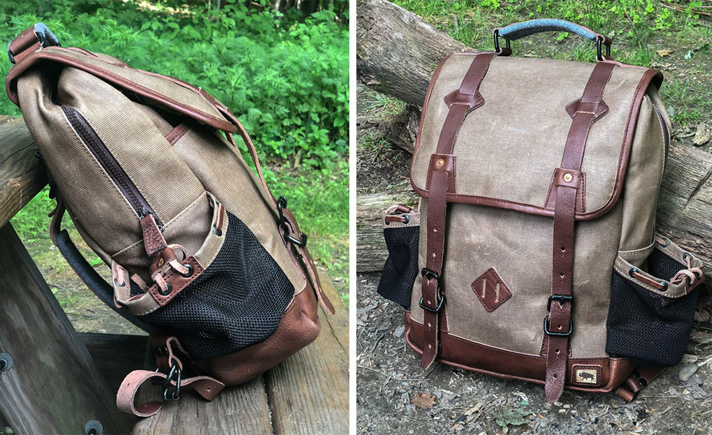 Front and side view of the Dakota Commuter bag