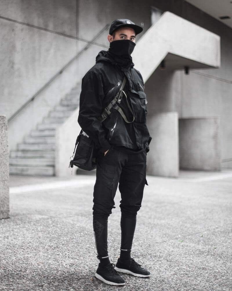 Black Urban Techwear Outfit