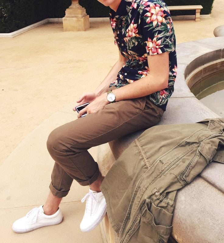 men's summer floral shirt cuffed chinos