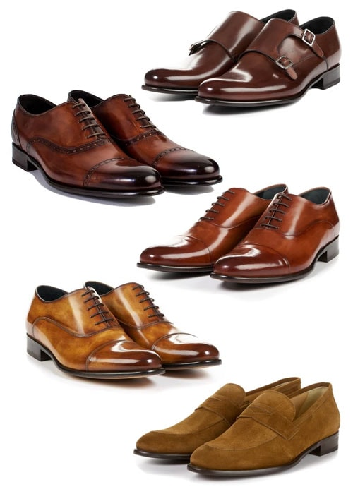 Assorted shades and types of brown leather dress shoes