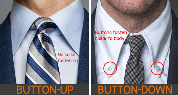 difference between button down and button up shier