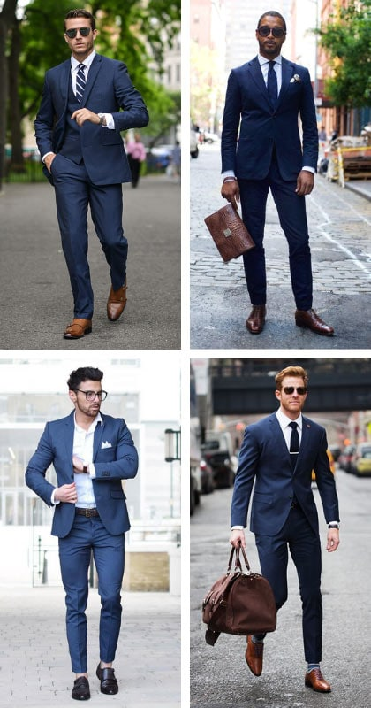 blue suit with brown shoes