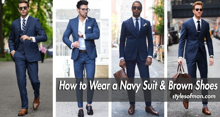 navy blue suit with brown shoes
