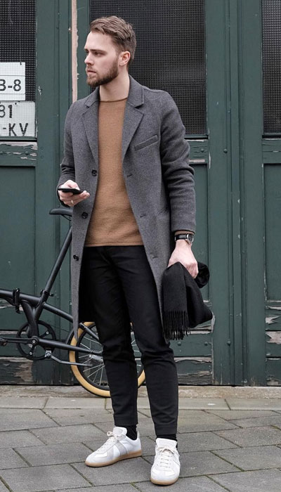 men's smart casual outfit with coat