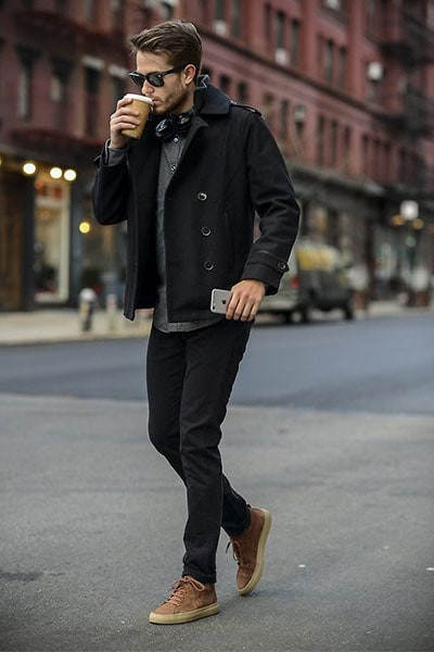 peacoat in smart casual outfit