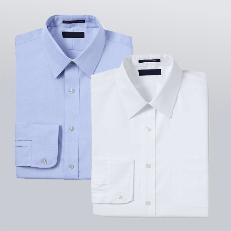 a white and light blue dress shirt