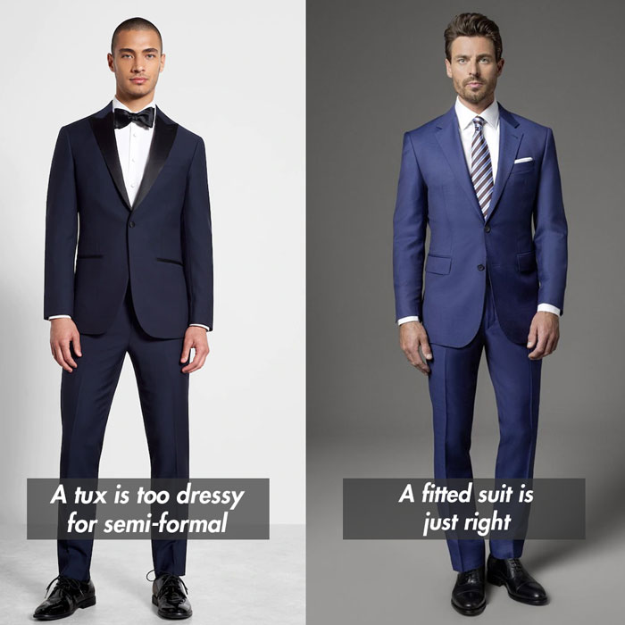 semi formal attire vs formal dress code