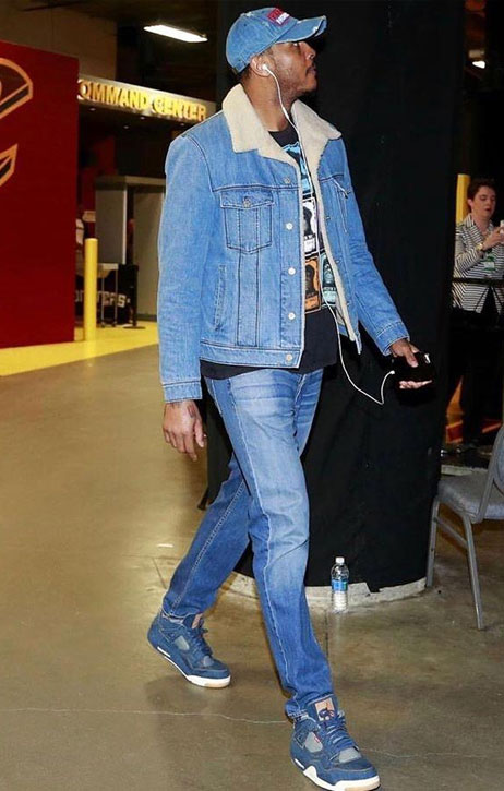 man in canadian tuxedo outfit