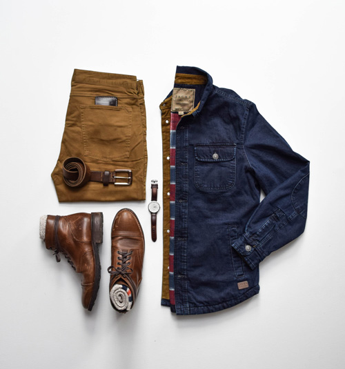 denim barn jacket with chinos