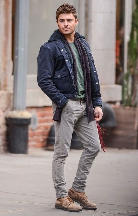 zac efron jean jacket outfit