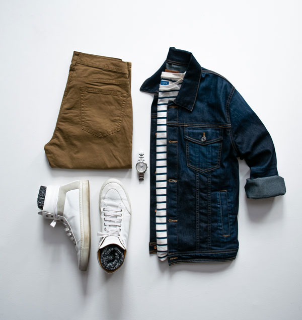 navy jean jacket with stripes