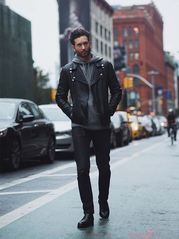 leather jacket over hoodie