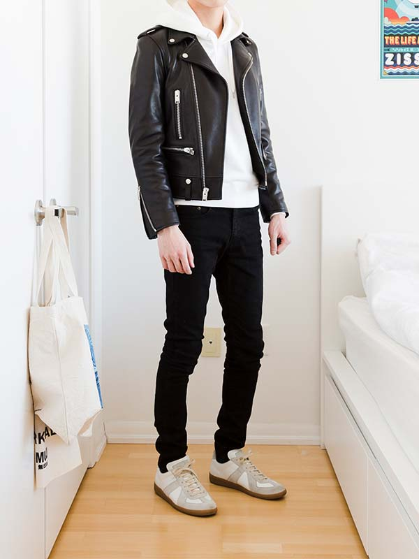 leather jacket hoodie outfit