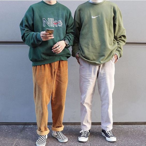 two teenagers dressed in soft boy style